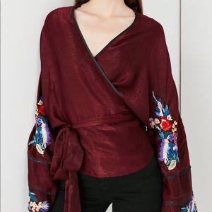 Tops - UO Embroidered Wrap Kimono Blouse